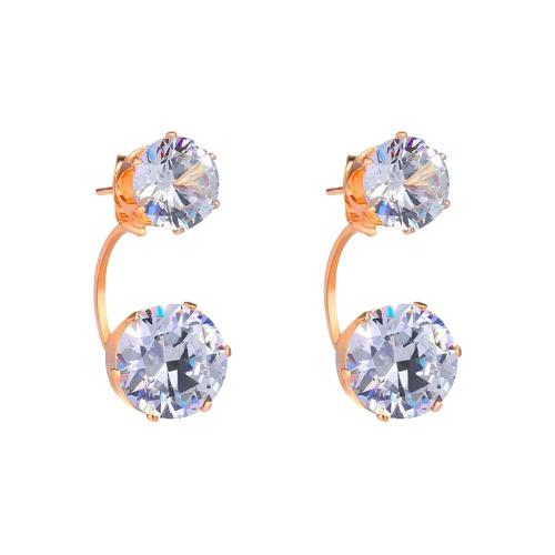 Encanto de la manera Anverso doble cara semicírculo Zircon Rhinestone cristalino del chapado en oro del oído del perno prisionero de la joyería de la Mujer