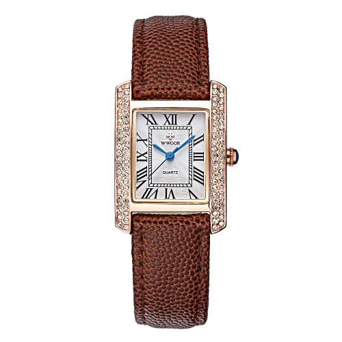 WWOOR 2016 Fashion Brand Luxury Women Watches Diamond Rhinestone Genuine Leather Strap Quartz Ladies Casual Wristwatch 30M Water-Proof Watch + Storage Box