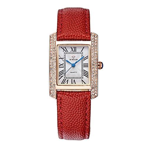 Correa WWOOR 2016 marca de moda de lujo relojes de las mujeres del Rhinestone del diamante del cuero genuino cuarzo casual de las señoras del reloj de 30M a prueba de agua reloj + Caja de almacenamiento