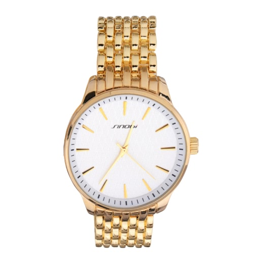 SINOBI Marca aleación de los hombres del reloj clásico unisex cuadrícula mujer del hombre del reloj del cuarzo 3ATM impermeables relojes de moda de lujo nuevos negocios 2016