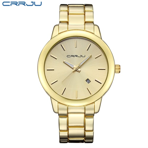 CRRJU 3ATM diário Resistente à água Homens Analog negócio de relógios de pulso estilo simples com calendário