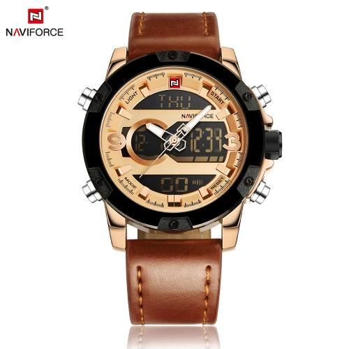 NAVIFORCE hombre ocasional de la manera deportes de la exhibición militar del reloj de hora dual análogo-digital del reloj 3ATM resistente al agua de la buena calidad del cuero genuino de la correa de las manos luminosas