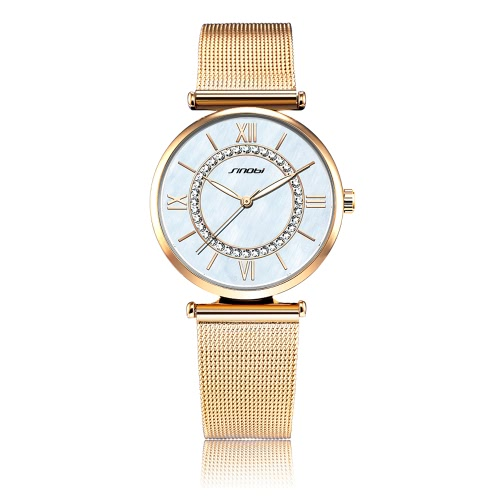 SINOBI Mulher Quartz relógio de luxo Moda relógio de pulso água 3ATM Rhinestone Resistente Dial Analog Watch