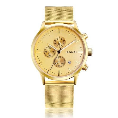 SONGDU moda de lujo luminoso de acero inoxidable de malla hombres reloj de cuarzo Chrono 30M a prueba de agua de negocios Wristwatch + caja