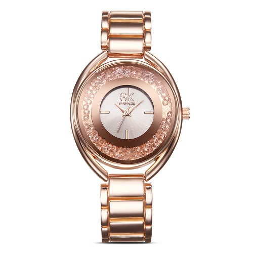 SK Brand Luxury Rose Gold Steel Relógios Femininos