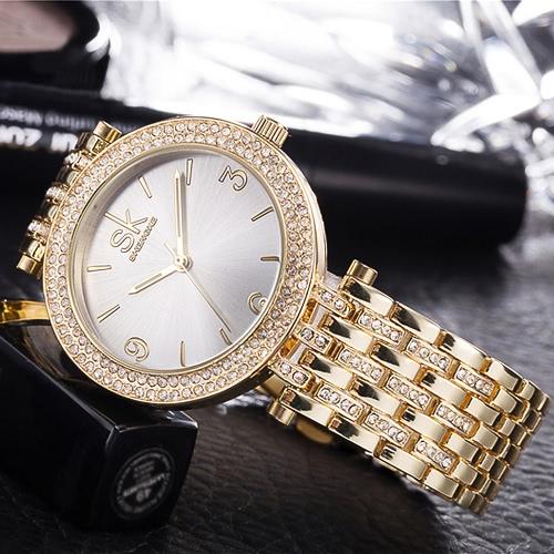 SK Brand Luxury Rhinestone Steel Women Relógios