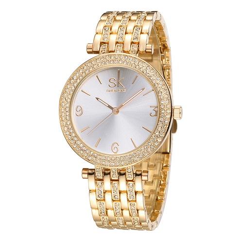 SK Marke LuxuxRhinestone Stahl Frauen Uhren 3ATM Wasserbeständig Einfachheit Damenuhr Mode Frauen-Geschäfts-Armbanduhr Feminio Relogio
