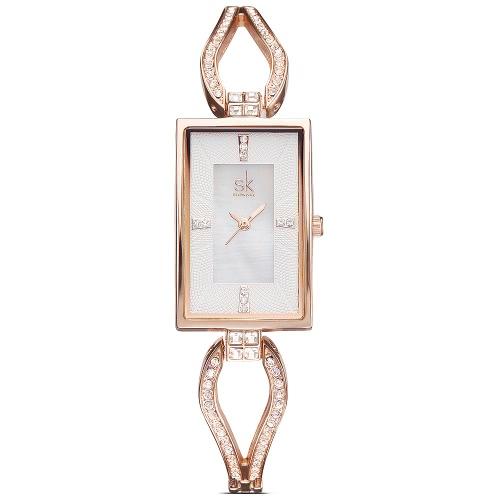 SK 2017 Luxus Stahl Rechteck Zifferblatt-Frauen-Uhren Quarz Analog-Dame-Armband-Uhr-3ATM wasserdicht beiläufige Armbanduhr