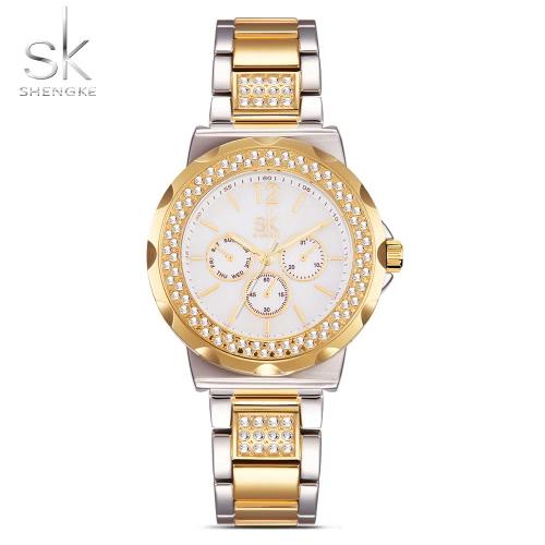 SK 2017 Luksusowe złote kobiety ze stali nierdzewnej Obejrzyj kwarcowe analogowe 3ATM wodoodporne Business Watch damskie Zegarek ręczna