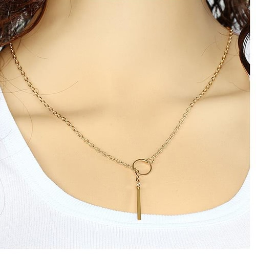 Lariat Necklace Bar Pendant Drop Delicate Choker Long Lariat Necklace Circle Statement Long Minimal Y Choker Necklace