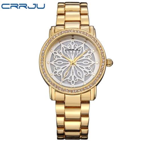 CRRJU Marken-Luxuxdiamant-Edelstahl-Frauen-Uhren Wasser-Beweis Skeleton Geschäfts-Kleid-Armbanduhr-Dame-Uhr-Geschenk + Kasten