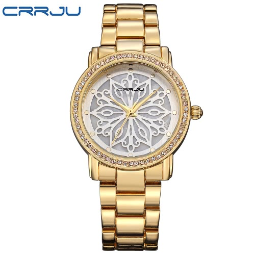CRRJU Brand Luxury Diamond Stainless Steel Women Watches Water-Proof Skeleton Business Dress Relógio de pulso Ladies Watch Gift + Box