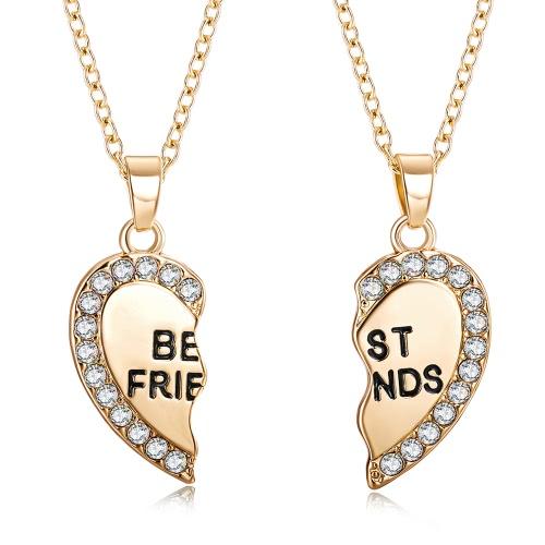 2 sztuki Koreański biżuteria mody Split Diamond Heart wisiorka Naszyjnik Bestie Heart Chain Piękny Naszyjnik