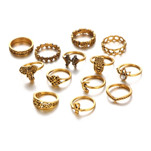 13Pcs Retro Bohemian Lady Suit Ring pierścionek słonia Diamond Carving Pierścień Damskie Biżuteria Holiday Gift