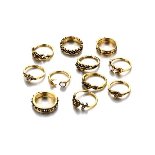 Las flores de Rose 11Pcs tallaron el anillo de dedo de la luna fijado El oro hermoso de la plata antigua del oro anillos fija los accesorios de las mujeres de la joyería de los accesorios de los accesorios
