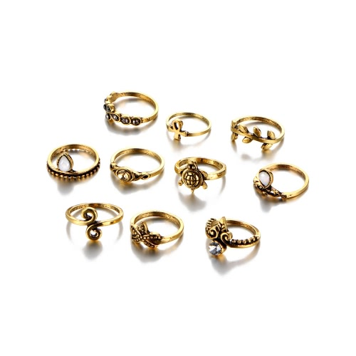 10Pcs Acessórios Femininos Punk Vintage Knuckle Rings Tribal Ethnic Joint Tortoise Ring Jewelry Set Gift