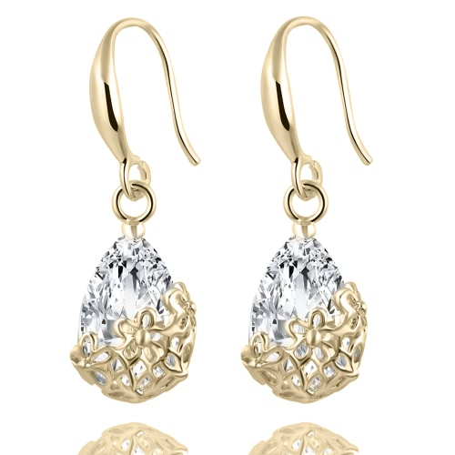 Casamento Crystal Zircon Dangle Earring para mulheres Elegant Classic Flowers Jewelry Accessories for Girl