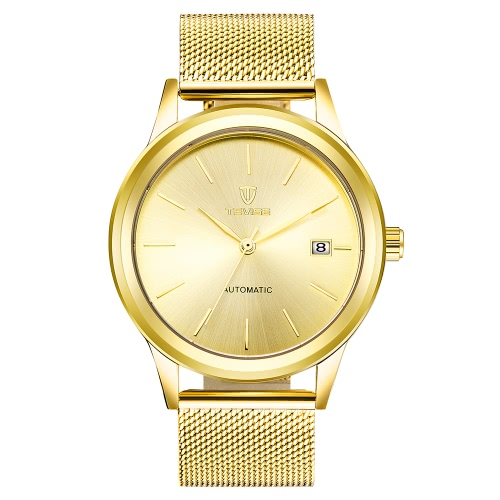 TEVISE Marca de lujo de oro mecánico automático de los hombres Reloj de prueba de agua de malla de acero inoxidable Banda de auto-liquidación hombre reloj de pulsera + caja