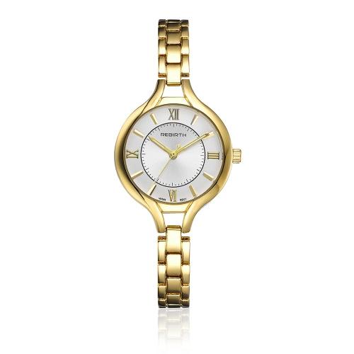 REBIRTH Marca Luxo Full Steel Mulheres Relógio de Negócios Quartz Water-Proof Ladies Watch Bracelet Clasp Ultra Thin Dial Casual Wristwatch Melhor presente