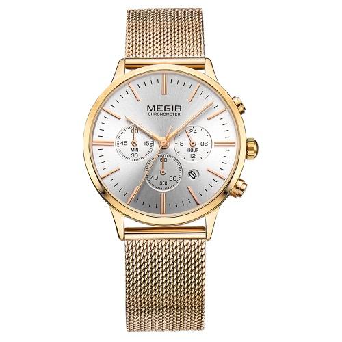 MEGIR marca de lujo de cuero genuino / malla de acero inoxidable mujeres relojes de cuarzo a prueba de agua crono damas de moda reloj de moda reloj de negocios