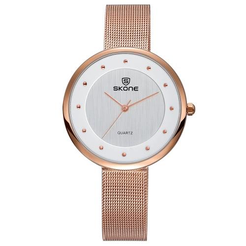 SKONE 3ATM resistente al agua reloj de pulsera de moda casual de las mujeres relojes de acero de lujo de malla de banda ultra delgado señoras reloj de cuarzo Relogio Feminino