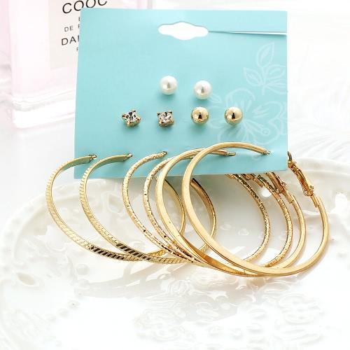 Mode Persönlichkeit Große Ring Ohrringe Perle Ohrstecker 6 Paar Anzug Schmuck Zubehör