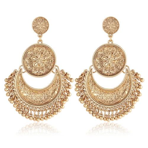 Retro Art-Blumen-Mond-Troddel-Ohrring-modische klassische doppelte runde Ohrring-Frauen-Schmucksachen