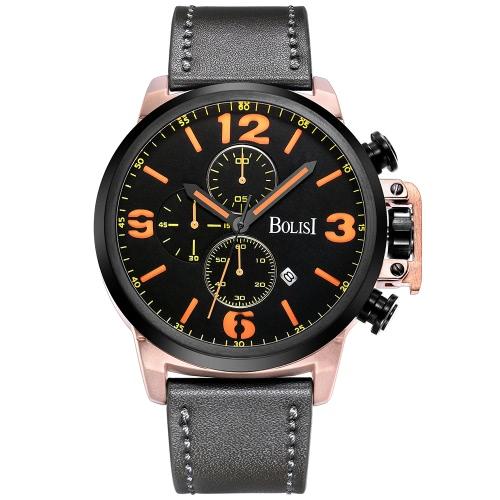 Bolisi moda casual reloj de cuarzo 3ATM hombres resistente al agua reloj reloj de pulsera de cuero genuino calendario calendario masculino