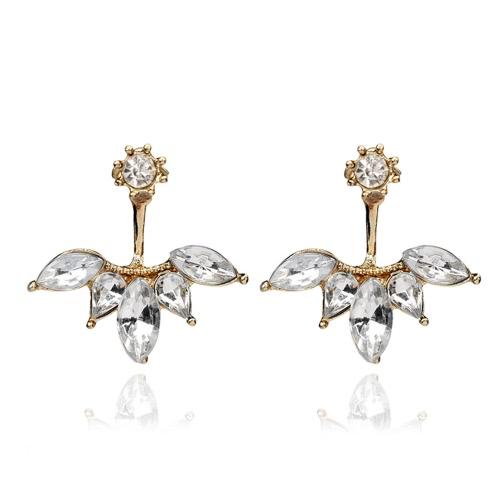 Luxury Clear Rhinestone owalne Flower Simple Kolczyki dla kobiet Kolczyki Fashion Biżuteria