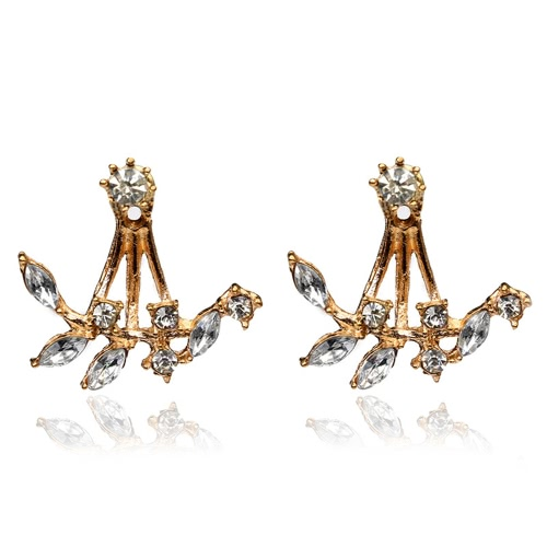 Fashion Plated Leaves Clear Crystal Ear Studs Brincos para Mulheres Delicate Jewelry Accessory