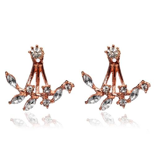 Moda plateado hojas de cristal claro Ear Studs pendientes para las mujeres Delicate Jewelry Accessory