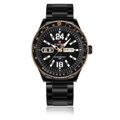 NAVIFORCE Fashion Casual Relógio de luxo 3ATM Relógio de quartzo resistente à água Homens luminosos Relógios de pulso Masculino Relogio Musculino Calendário