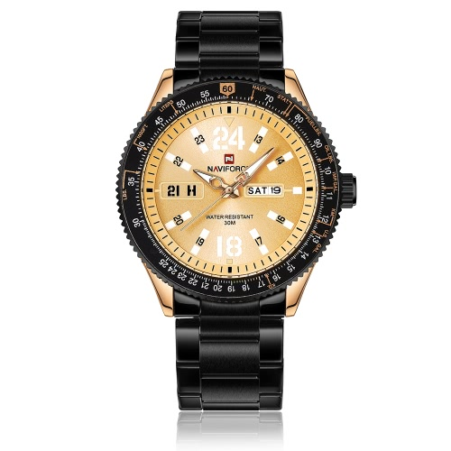 NAVIFORCE Moda Relógio de luxo casual 3ATM Relógio de quartzo resistente à água Homens luminosos Relógios de pulso Calendário Masculino