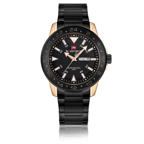 Reloj del cuarzo del deporte de NAVIFORCE 3ATM Hombres resistentes al agua Relojes Reloj luminoso del calendario masculino del reloj
