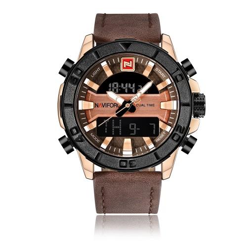 Reloj del cuarzo del deporte de NAVIFORCE reloj luminoso de los hombres del cuero genuino del reloj digital de 3ATM Reloj masculino de los hombres del cuero genuino