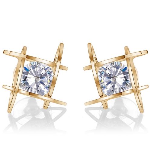 Moda Unique Square Bright Zircon Crystal Ear Studs Aleación Pendientes para Las Mujeres Accesorio de La Joyería