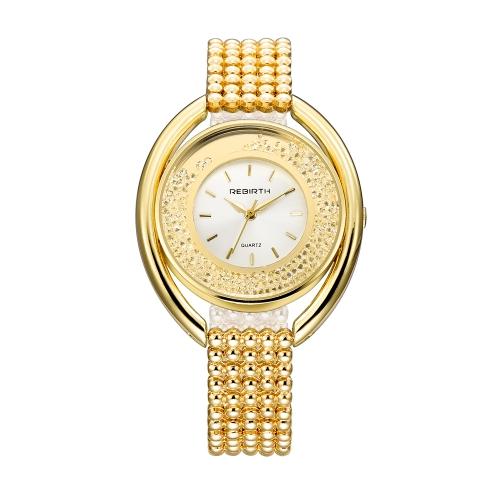 REBIRTH Fashion Casual Quartz Watch Life Resistente à água Relógio de luxo Mulheres Relógios de pulso Feminino