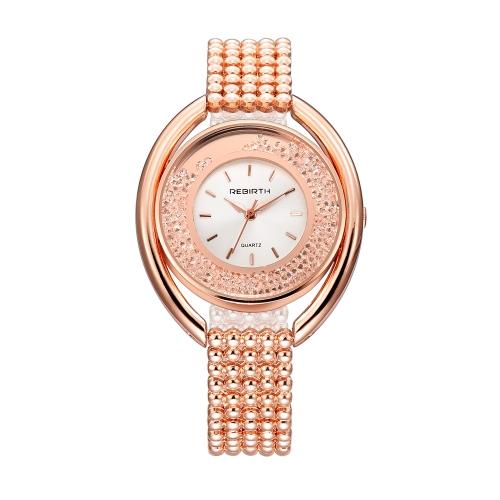 REBIRTH Fashion Casual Cuarzo Reloj Vida Resistente al agua Reloj de Lujo Mujer Relojes de Pulsera Mujer