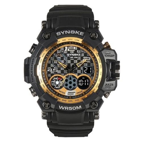 SYNOKE Reloj deportivo digital 5ATM Reloj resistente al agua para hombres Reloj retroiluminado Reloj de pulsera con pantalla doble
