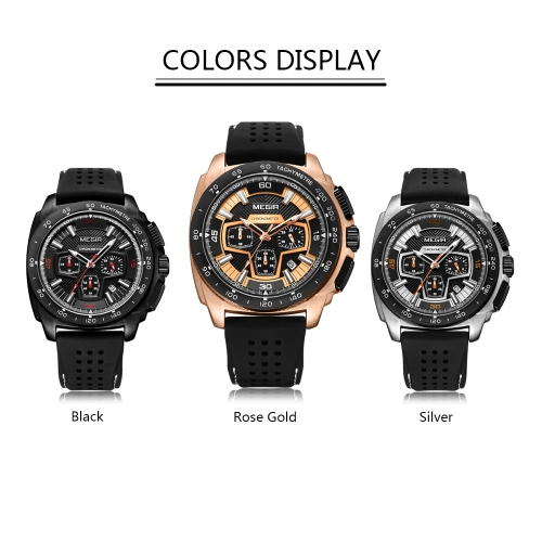 MEGIR Fashion Sport Silicone Men Watches 3ATM Water-resistant Quartz Luminous Man Wristwatch Chronograph Calendar