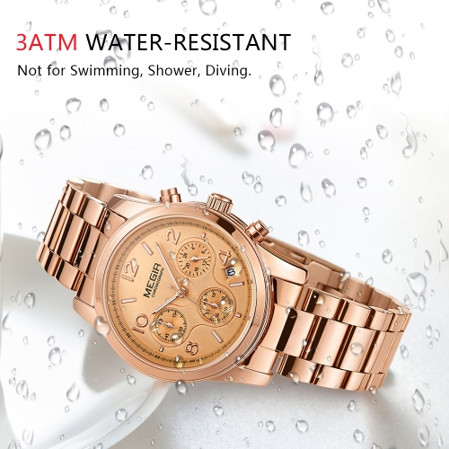 MEGIR Fashion Luxury Stainless Steel Women Watches 3ATM Water-resistant Quartz Luminous Woman Wristwatch Chronograph Calendar