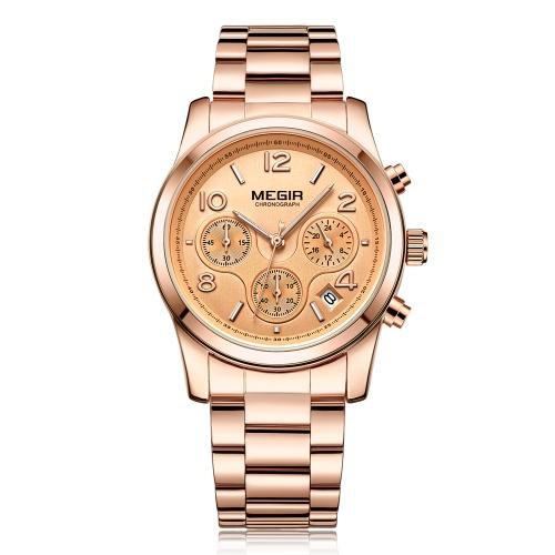 MEGIR Fashion Luxury Stainless Steel Women Zegarki 3ATM wodoodporny zegarek kwarcowy Luminous kobieta chronograf kalendarz