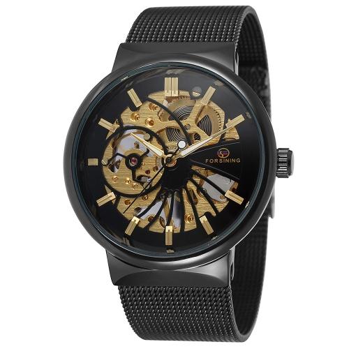 FORSINING Luxo Luminoso Esqueleto Homens Relógio Mecânico Mão-Enrolamento Malha Aço Inoxidável Banda Homem Casual Relógio de pulso + Caixa