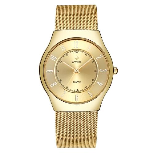 WWOOR moda luminoso reloj de cuarzo hombres malla de acero inoxidable 3ATM impermeable reloj casual reloj de pulsera + caja
