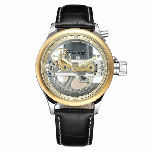 FORSINING Moda relógios mecânicos de luxo em couro genuíno Relógios de pulso luminosos automáticos Homem