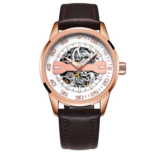 OCHSTIN Fashion Business Echtes Leder Automatische Männer Uhren Mechanische 3ATM wasserdicht Luminous Casual Mann Armbanduhr