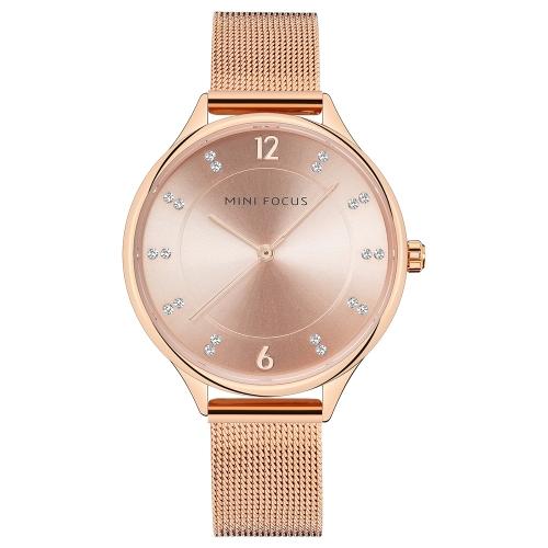 MINI FOCUS Moda lujo acero inoxidable mujer relojes cuarzo 3ATM resistente al agua Casual mujer reloj de pulsera