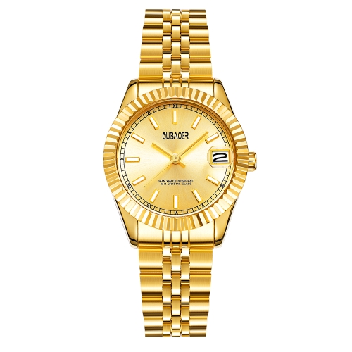 OUBAOER Mode Luxus Edelstahl Frauen Uhren Quarz 3ATM wasserdicht Casual Frau Armbanduhr Kalender