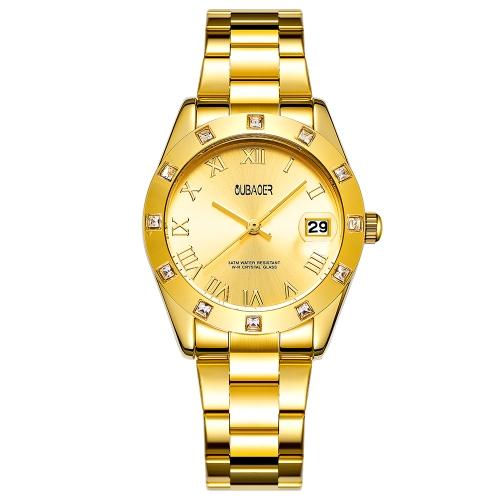 OUBAOER Moda Relógios de luxo de aço inoxidável para mulheres Quartz 3ATM resistente à água Casual Woman Relógio de pulso Calendário