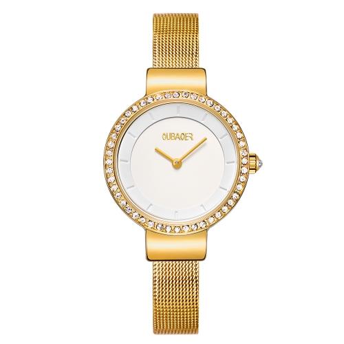 OUBAOER Moda Relógios de luxo de aço inoxidável para mulheres Quartz 3ATM relógio de pulso casual resistente à água